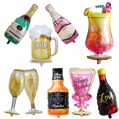 Wine Whiskey Beer Bottle Champagne Cup Foil Balloon Birthday Wedding Party - Birthday Beer