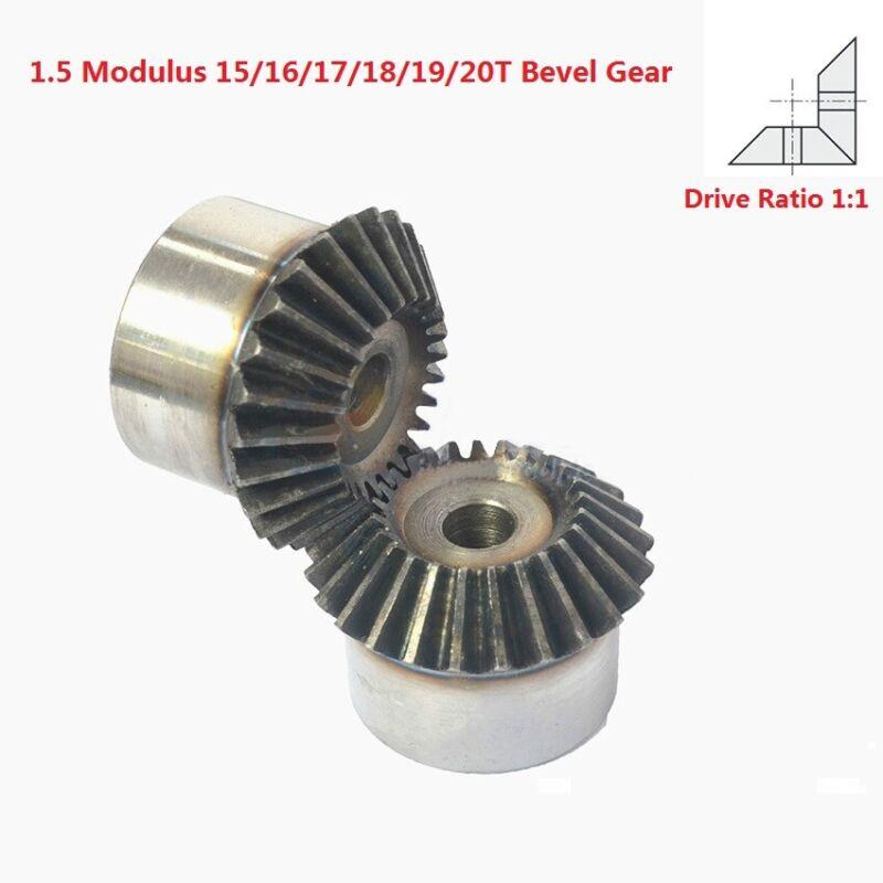 1.5 Modulus 15/16/17/18/19/20T Umbrella Gear 90° 1:1 Pairing Metal Bevel Gear
