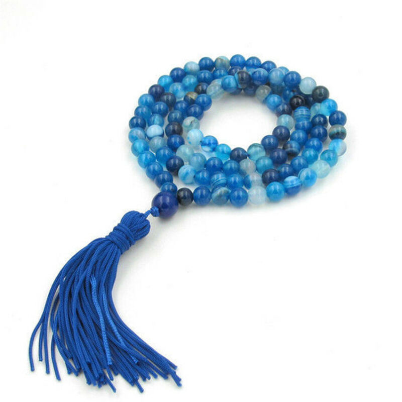 6mm Blue Onyx 108 beads Necklace Chakas Sutra chain Meditation energy pray MONK