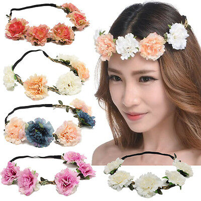 New Boho style Floral Crown Bride Headband Wedding Flower Hairband Wreath