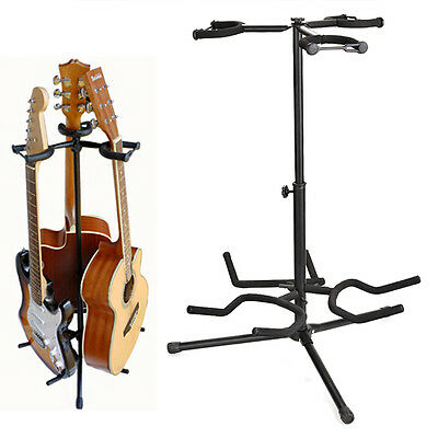 Black Guitar Tripod Stand Gear Tubular --Hold 3Pcs Acoustic Electric Guitar Bass
