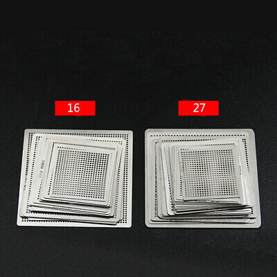 16pcs 27pcs Universal Bga Reballing Repair Net Stencil Heat Solder Kit Set