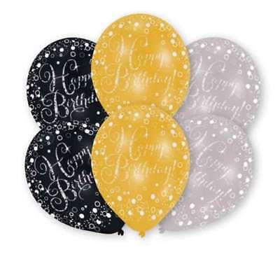 Glamour Gold Happy Birthday 6 Ballons Geburtstag schwarz silber Dekoration NEU ()