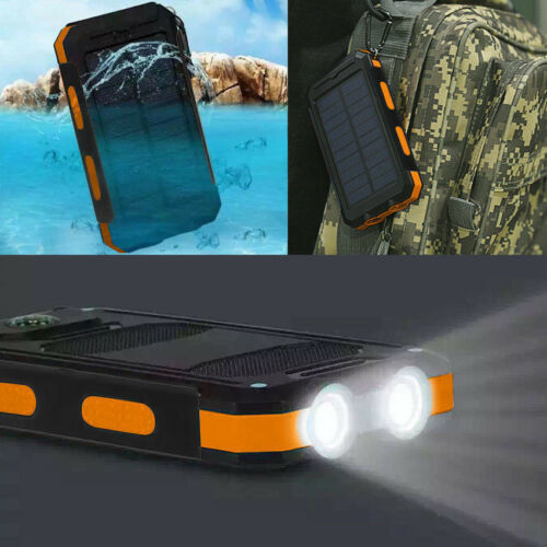 Dual USB Ports 2 LED Flashlight Compass Backup Battery Pack Solar Power Bank