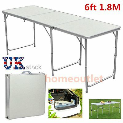 6FT HEAVY DUTY PLASTIC & FOLDING TABLE OUTDOOR BANQUET TRESTLE PARTY GARDEN BBQ