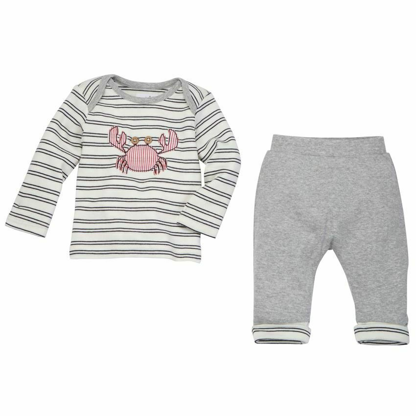 Mud Pie Baby Boy Nautical Crab 2 Piece Cotton Top and Pants