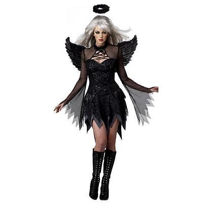 (Black Deluxe Fallen Dark Angel Halloween Ladies Fancy Dress Costume + Wings 2018)