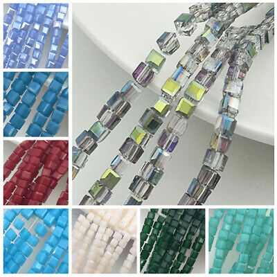 200PCS 2mm AB Cube Square Loose Glass Crystal Spacer Beads Jewelry Making - Ab Cube