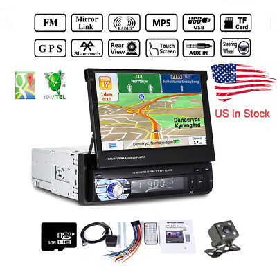 "7"" Single Din Car Stereo Radio MP5 Player GPS SAT NAV US Map Bluetooth+Camera"
