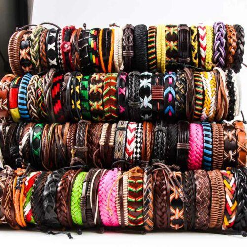 Wholesale 20pcs Handmade Fashion Jewelry Leather Cuff Bangle Wristband Bracelet