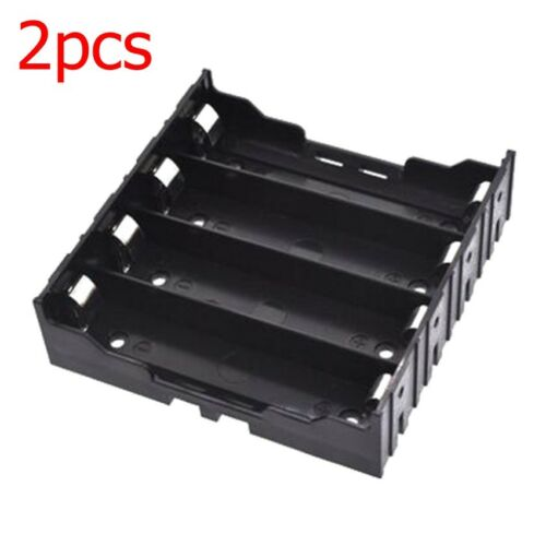 2x NEW DIY PLASTIC BATTERY STORAGE 4 PIN CASE BOX HOLDER for 18650 BATTERY BLACK