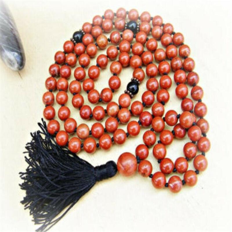 8mm Red Jasper Gemstone Mala Tassel Necklace 108 Bead cuff Buddhism Chakas men