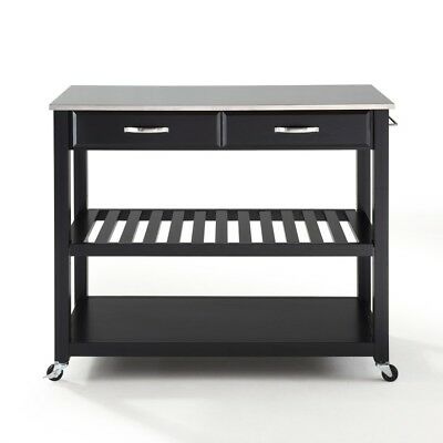 STAINLESS STEEL TOP KITCHEN CART/ISLAND WITH OPTIONAL STOOL STORAGE FINISH ()