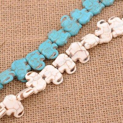 Turquoise Elephant Gemstone Spacer Loose Beads Charm Findings 15'' - Elephant Beads