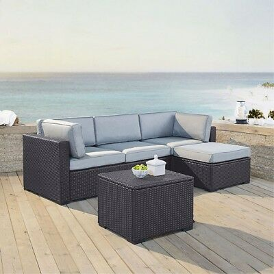 BISCAYNE 4 PERSON OUTDOOR WICKER SEATING SET IN WHITE - ONE LOVESEAT, ONE COR...