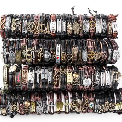 Wholesale lots 30pcs Mixed Styles Vintage Alloy leather Cuff Bracelets Jewelry