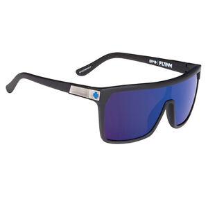 Spy Flynn Sunglasses Soft Matte Black Happy Bronze w/ Dark Blue Spectra