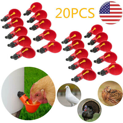 20pcs Poultry Water Drinking Cups Plastic Chicken Bird Pigeon Fowl Auto Drink Us