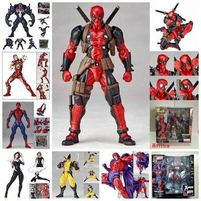 "Revoltech Venom Deadpool Spider Gwen Wolverine Kaiyodo Action Figure 7"" Toy New"