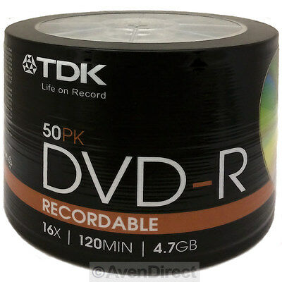 50 New Tdk 16X Logo 4 7Gb Premium Dvd R Shrink Wrapped  Free Usps Priority Mail