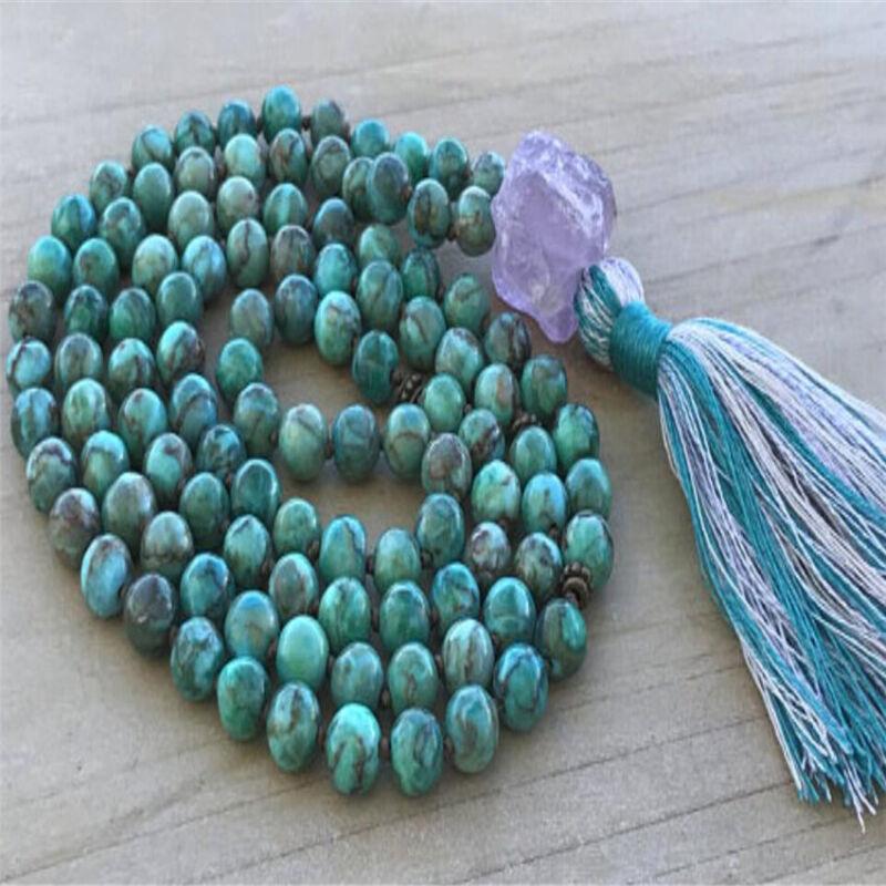 8mm Turquoise Gemstone Tassel Mala necklace 108 Beads Buddhism Unisex natural