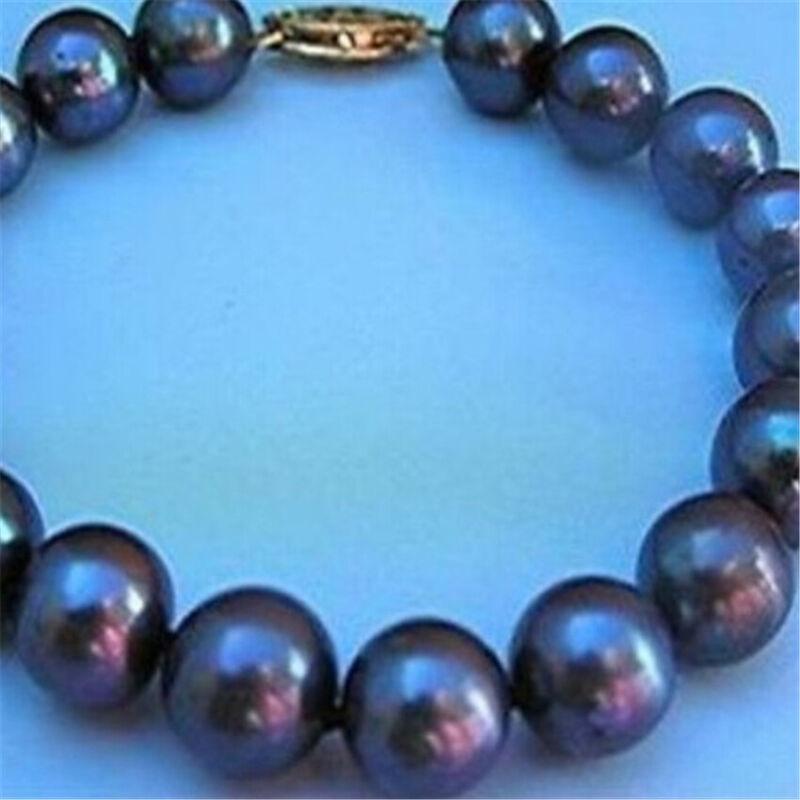 9-10mm Round Black Pearl Bracelet Gold Clasp Chic Luxury Cultured Retro Gorgeous