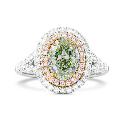18K White Gold Engagement Green Diamond Ring GIA Certified 1.50 ct Oval Cut Halo