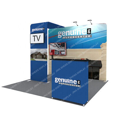 10ft Custom Fabric Trade Show Display Booth System Back Wall Tv Stand Lights