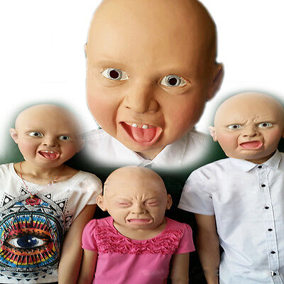 Happy Baby Halloween Mask (Cry/Angry/Happy Baby Full Head Latex Scary Mask Halloween Party Cosplay Gift)