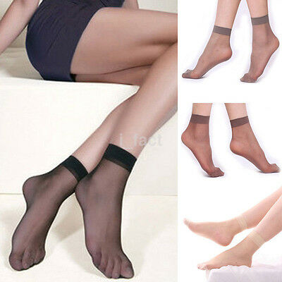 10 Pairs Women Ultra Thin Crystal Transparent Elastic Silk Ankle Low Cut Socks