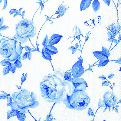 Rambling Rose White blue luxury paper napkins new 20