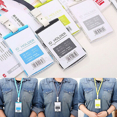 Security Pass Holder - Security Credit ID Card Badge Tag Holder Pass Case With Neck Strap Lanyard US