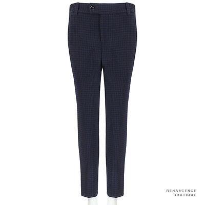 Julien David Black Midnight Blue Slim-Fitting Houndstooth Trousers Pants S IT38