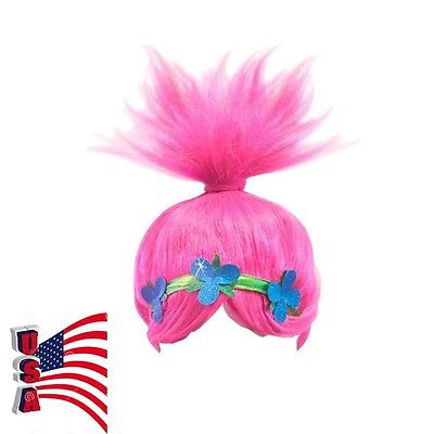 Funny Wigs For Kids (USA Stock Free Shipping! Kids Trolls Poppy Pink Wig Cosplay Prop Kids Funny)