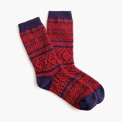 J. Crew Festive Fair Isle Trouser Socks - Navy Cerise - NWT