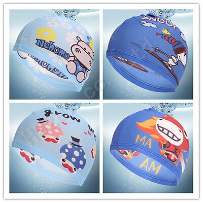 Children Cartoon Printed Comfort Polyester Swimming Bathing Shower Cap