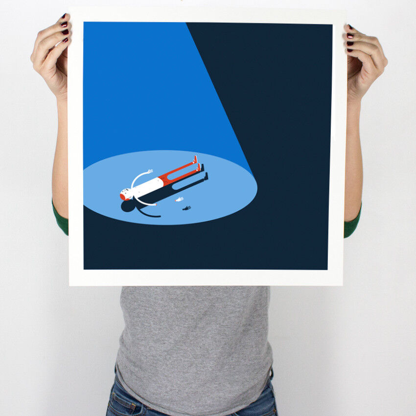 Jim Houser- Floats Blue 7 Color Screenprint Signed Numbered /40 W/ COA - $150.00