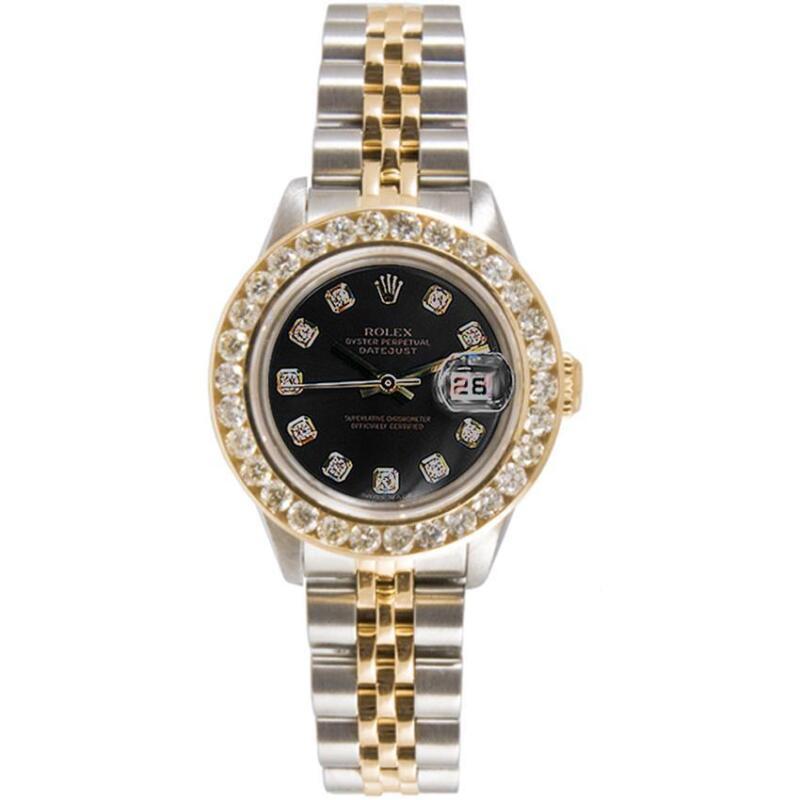 Rolex Lady Datejust Model 69173 With Black Diamond Dial & 2ct Diamond Bezel