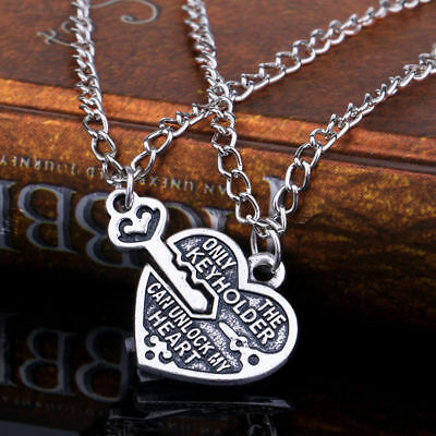 2pcs Lock and Key to my Heart Couples Necklace Set Pair Best Friend Antiqued