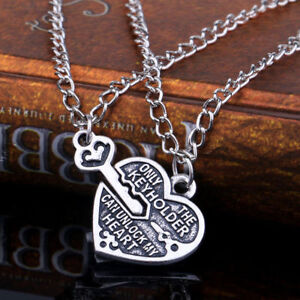 2pcs Lock and Key to my Heart Couples Necklace Set Pair Best Friend Antiqued BF