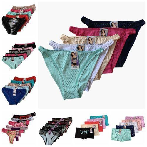 LOT  !!5 Women Bikini Panties Brief Floral Lace Cotton Underwear Size M L XL