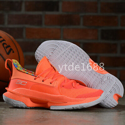 2020 NEW!Orange Men's Under Armour Curry 7 Training Basketball Shoes Size US7-12