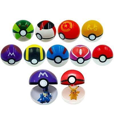 9 Pokemon Pokeball Pop-up 7cm Cartoon Plastic BALL Pikachu Monster Kids Toy Gift