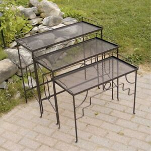 Achla Designs Rectangular Nesting Tables Set Of 3 Outdoor Patio Furniture  Sets