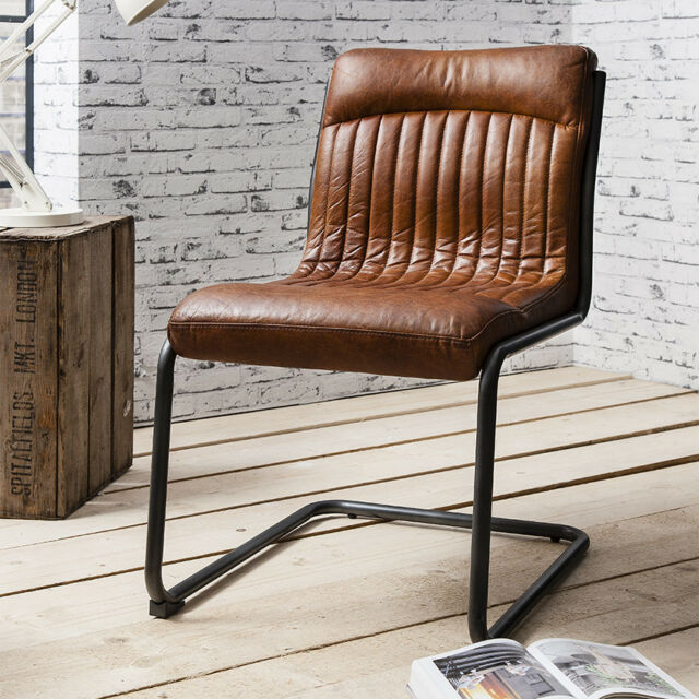Beautiful Hudson Living CAPRI Contemporary Dining Office Metal Top Grain LEATHER CHAIR