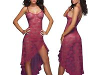 Women Sleepwear Lingerie Underwear Long Lace Sexy Babydoll Nightwear Jujibe Red UK M £20.00 FREE PP