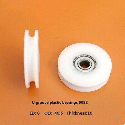 846.510mm Nylon Plastic Embedded 608 U Groove Ball Bearing Pulley Guide Roller