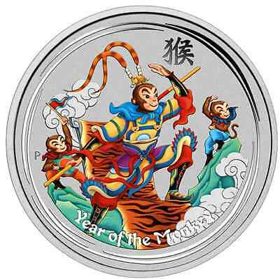 2016 Australia Lunar Year of the Monkey King Colorized 1oz SIlver $1 Coin w/ OGP