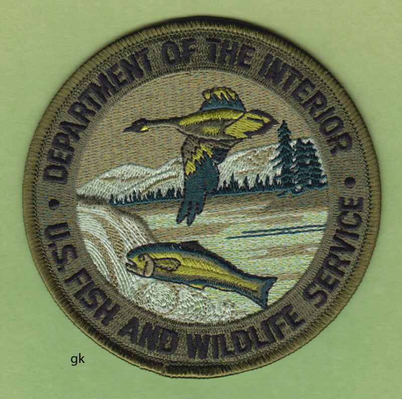 DEPARTMENT OF THE INTERIOR FISH WILDLIFE POLICE SHOULDER PATCH ( SUBDUED)