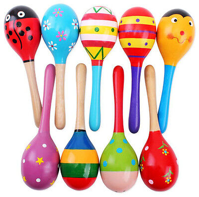 Colorful Wooden Maracas Baby Child Musical Instrument Rattle Shaker Party - Baby Maracas